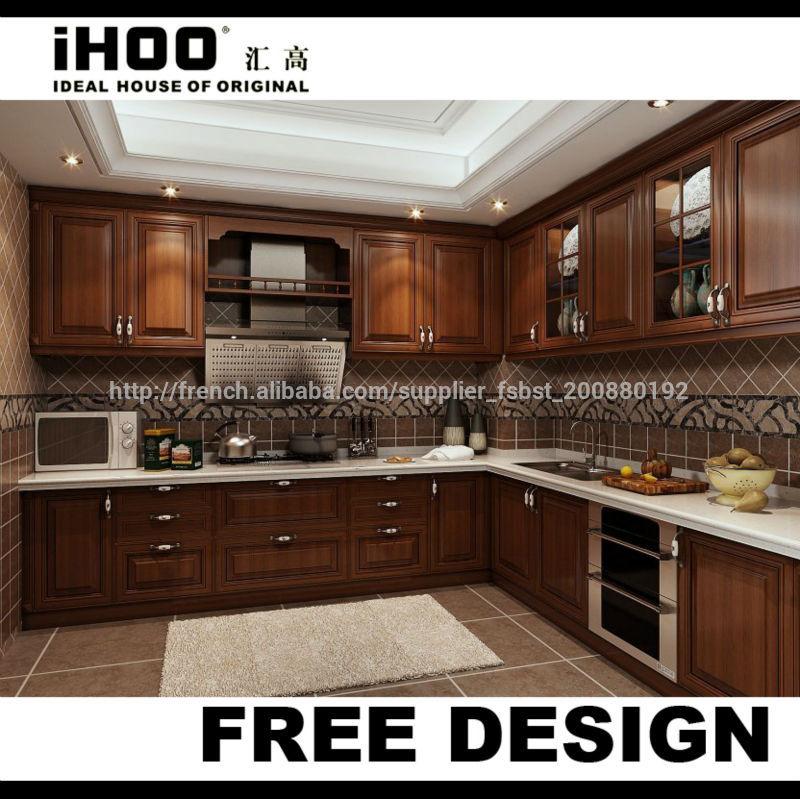 American style antique brun fonc meubles de cuisine for American style cuisine