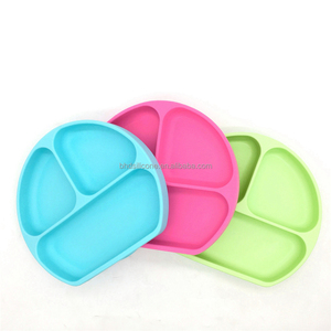 BPA Free Feeding Silicone Spill Proof Stay Put Suction Bowl, Baby Silicone Suction Divided Plate