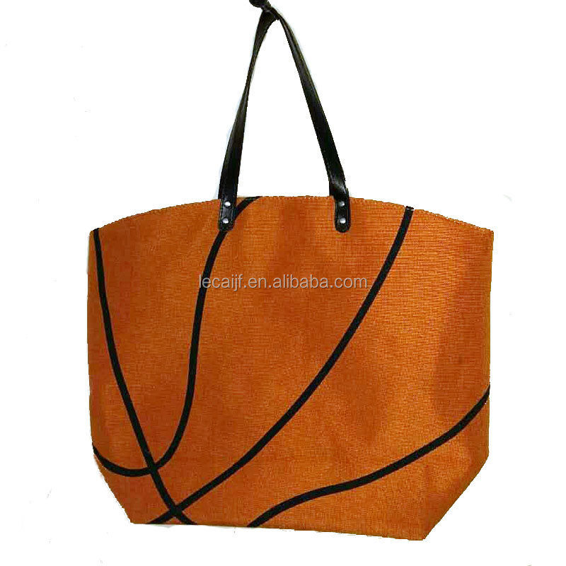 Wholesale canvas cotton personalized basketball tote bag with leather  handles ab3445751