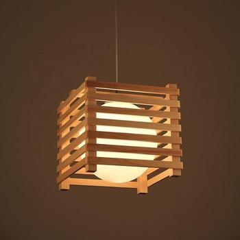 Vintage Wood Chandeliers Pendant Lights Home Decor Lamp Modern For Restaurant Asian Square Wooden Lighting Anese