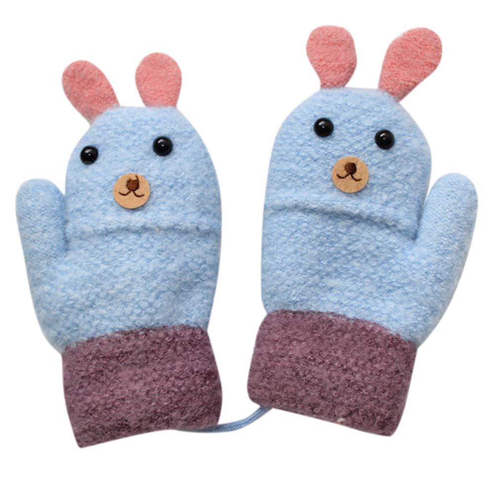 Voberry@ Toddler Kids Cute 3D Cartoon Rabbit Thicken Full Finger Warm Knitted Mittens Gloves (Blue)