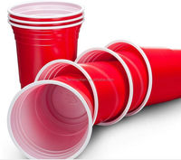 Let's party!custom printing Logo Red Disposable Plastic Picnic birthday Party Cups 16 oz