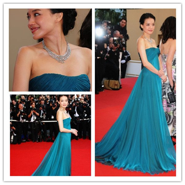 Royal Blue A Line Floor Length chiffon Chinese Celebrity ...