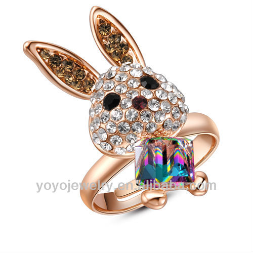 Cute animal rabbit adjustable engagement ring