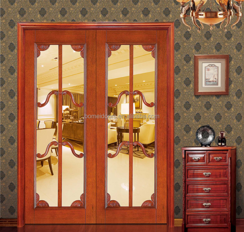 Genial Interior Door Swing Double Wood Door With Glass Design   Buy Interior Door  With Glass,Swing Double Door,Wood Panel Door Design Product On Alibaba.com