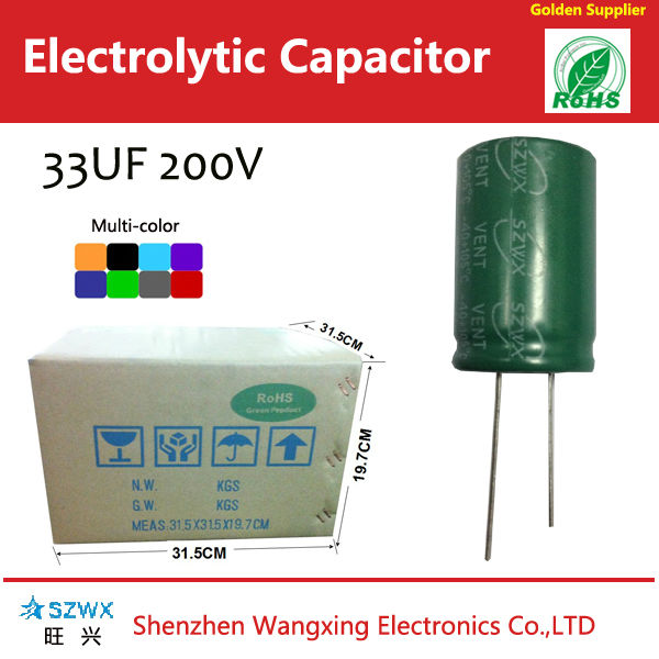 33uf 200v electrolytic capacitor long load life high quality capacitor 5000 ~10000 hours capacitors