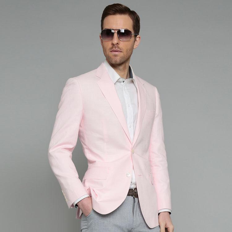 55% Cotton 45% Linen Notch Lapel Two Buttons Pink Color Blazer Men ...