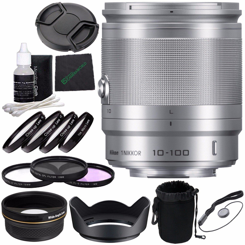 Nikon 1 NIKKOR 10-100mm f/4.0-5.6 VR Lens (Silver) + 55mm 3 Piece Filter Set (UV, CPL, FL) + 55mm +1 +2 +4 +10 Close-Up Macro Filter Set with Pouch + Lens Cap + Lens Cleaning Pen Bundle