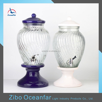 Hot Sale 5L Beverage Glass Jar Colored Ceramic Lid Stand Glass Dispenser Clear Glass Container With A Tap