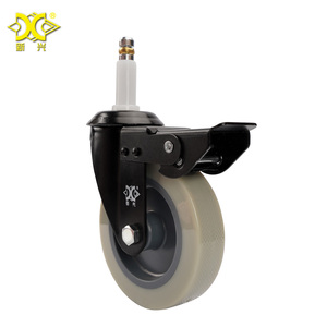 Industrial Steel Plate Swivel Roller Casters 4 inch PVC Rigid Wheels with Brake