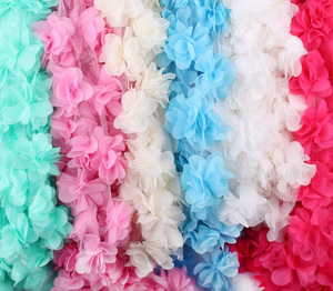 3D Chiffon Fabric Flowers Cluster Fringe Lace Ribbon Trim Organza Cloth Applique Dress Sewing Accessories