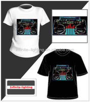 perfect flash happy birthday led t shirt paypal accept/EL flashing sound activated beer t-shirt