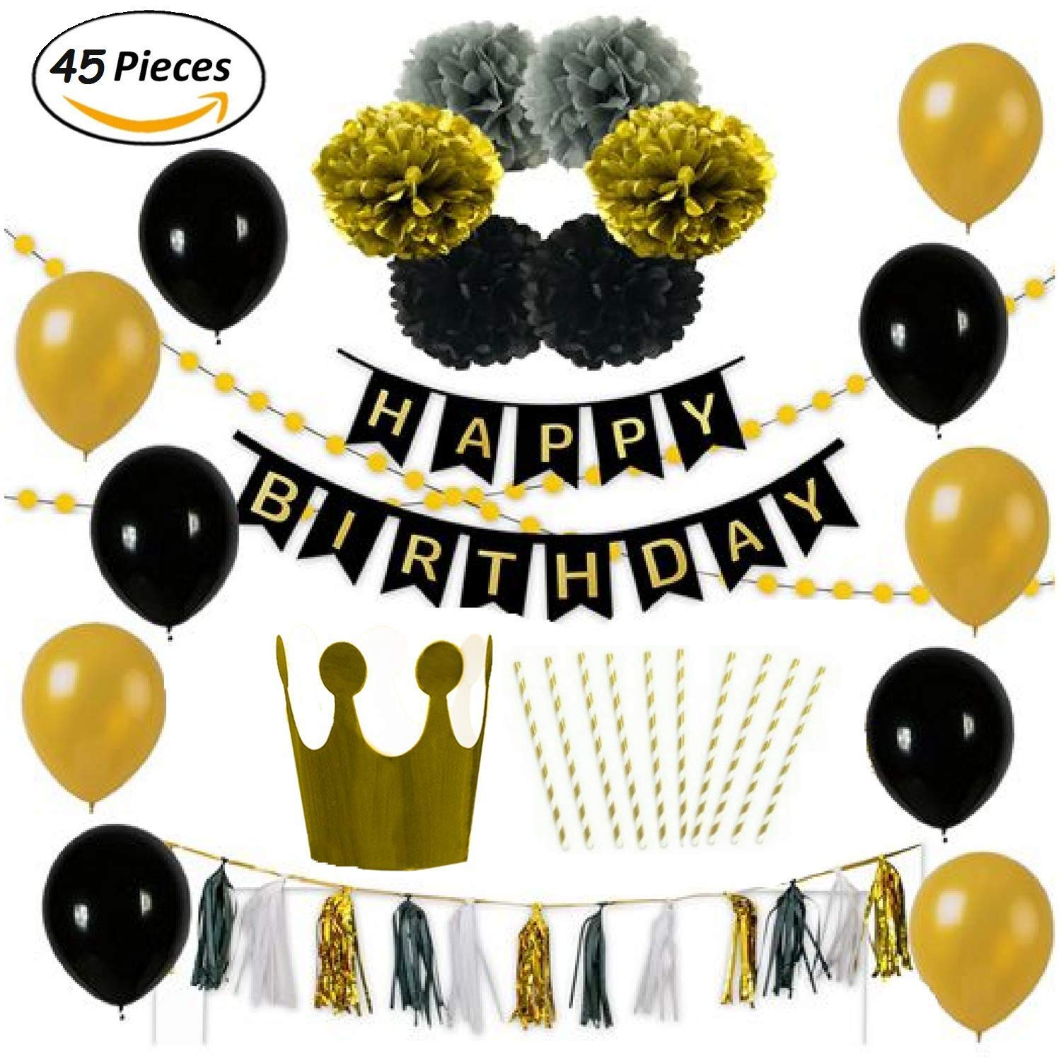 Birthday Party Decoration Pack 10 Gold Black Balloons 6 Grey Paper Pompoms 1 Free Hat And Straws 15 White Tassels 2 Set