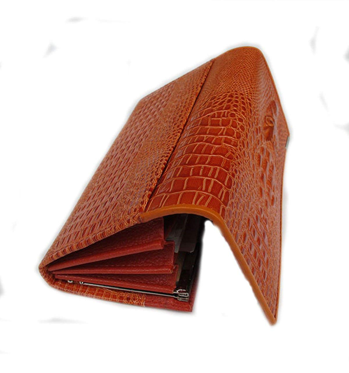 BEAUTIFUL CROCODILE PATTERN CLUTCH WALLET IN BROWN COLOR MADE FROM COWHIDE