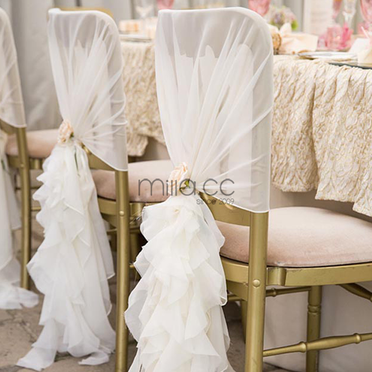 Romantic Ruffle Blush Chiffon Chair Cover Chiffon Chair