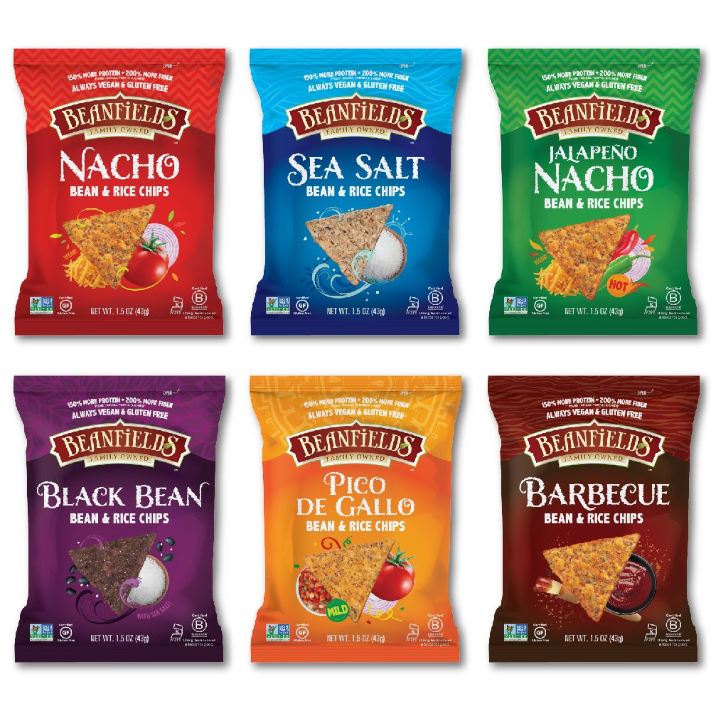 Beanfields Bean Chips, High Protein and Fiber, 6 Flavor Variety Pack: Nacho, Jalapeno Nacho, Sea Salt, Black Bean, Pico de Gallo, BBQ, 1.5 Ounce (Pack of 24)