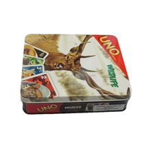 Recycled metal material rectangular common playing cards tin box