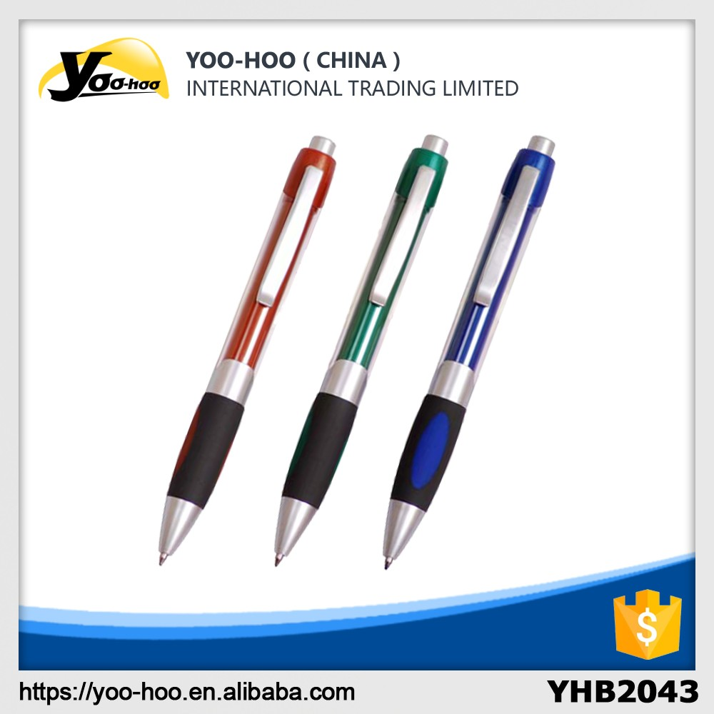 Color click plastic banner ball pen with grip and silver clip