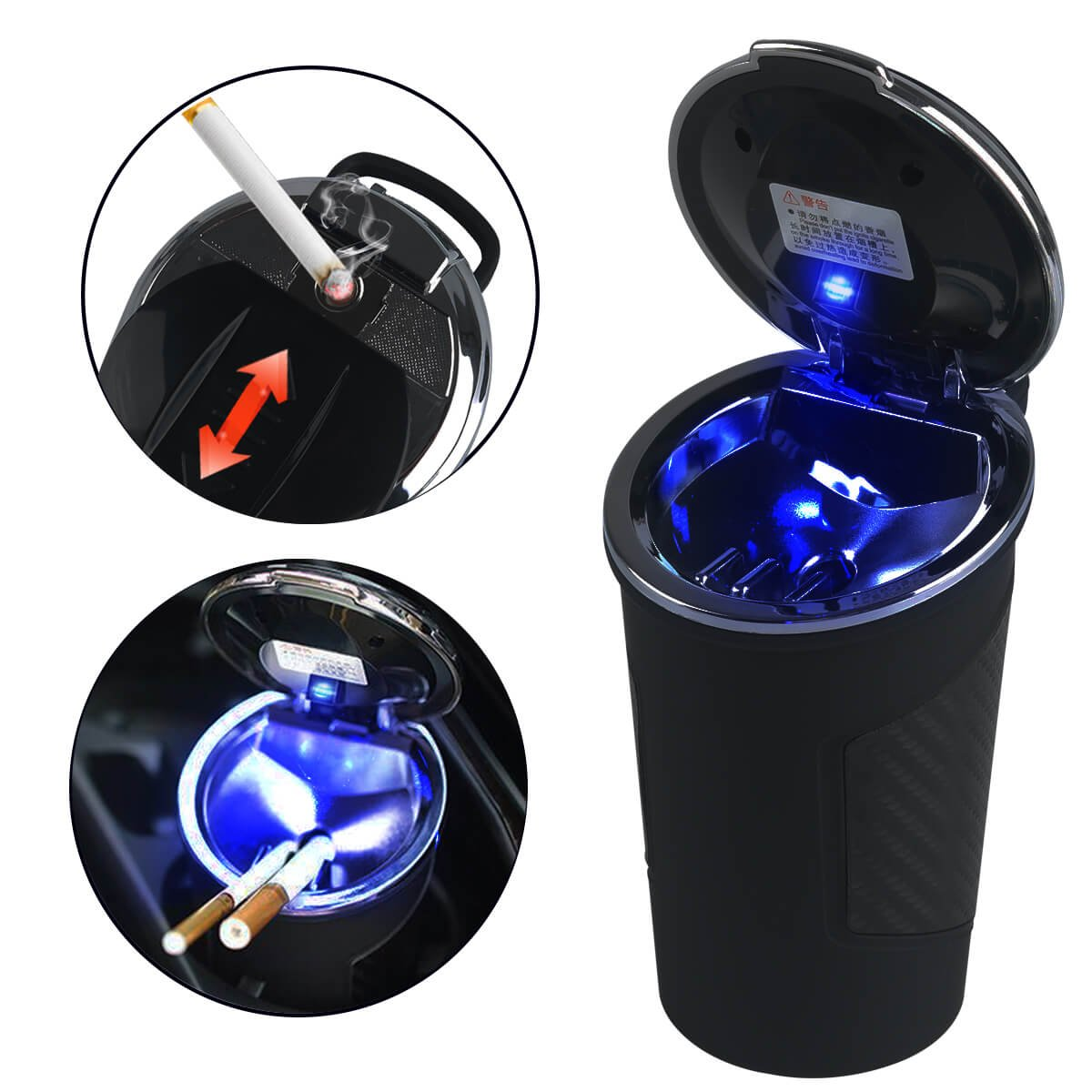 Amazing Slide Lighter in Car Ashtray with Blue Led Light for Most Car Cup Holder, Portable Black Cup by RCRunning