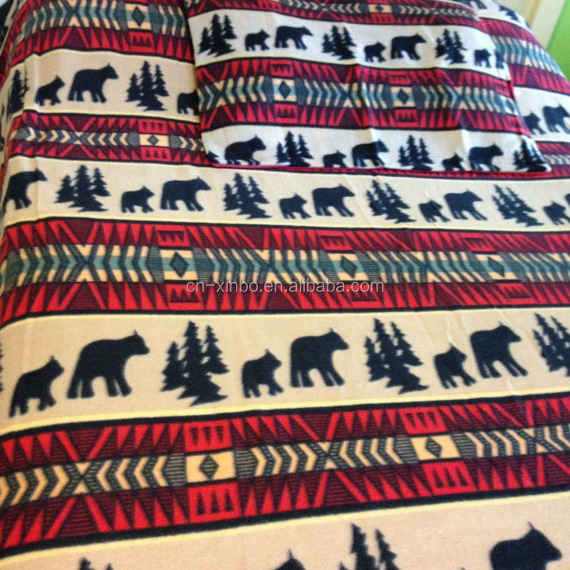 Twin Black Bear Adventure Polar Fleece Bedding Blanket Set Ultra Soft