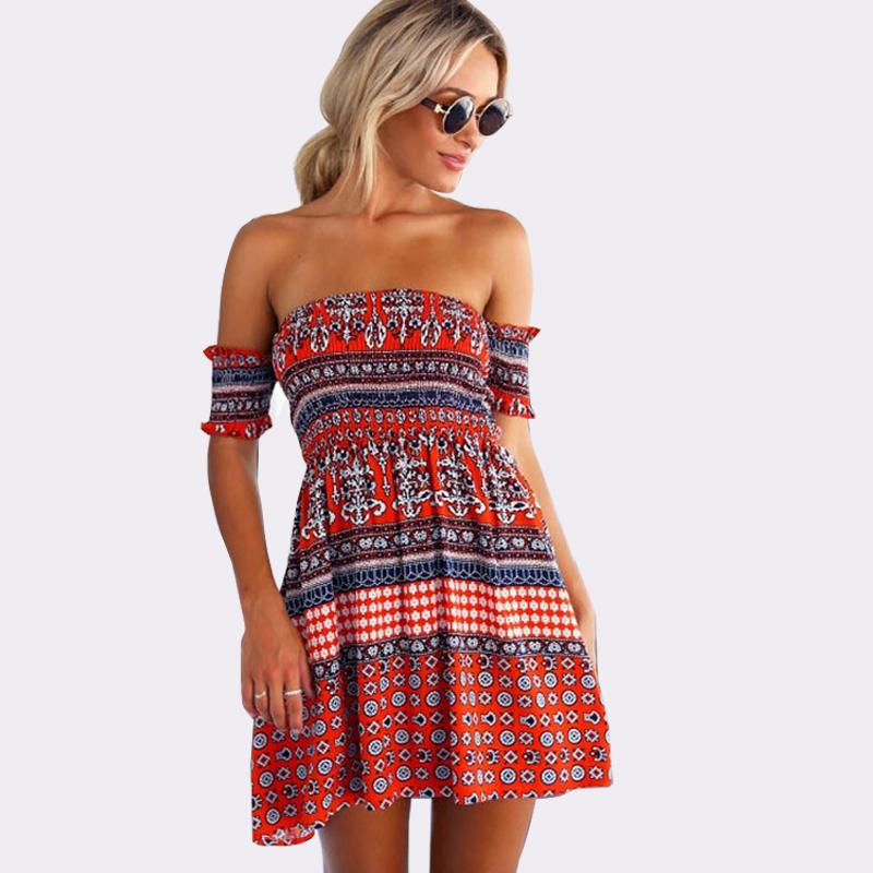 a0b61665331e vestido de festa slash collar sexy dresses off shoulder beach dresses  floral print summer dresses hot short ladies dresses CD680