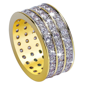 Angel Bola Hot Sale Thick Punk Style Three Triplex Row Zircon Pave Cuban Gold Ring Hi Hop