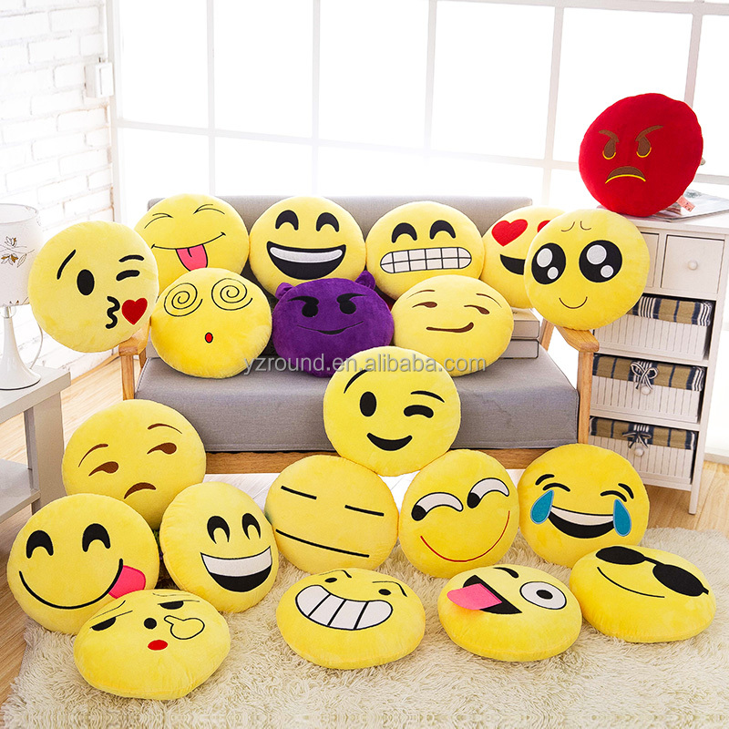 Emoji pillows cushion embroidered face wholesale promotional plush soft stuffed toy