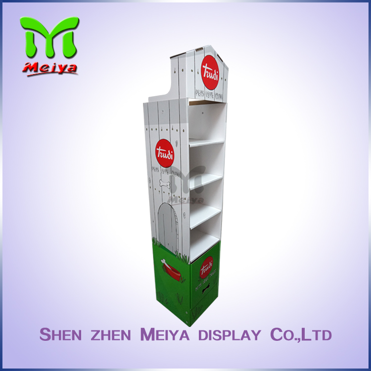 New design pet tableware cardboard floor display stands, corrugated floor display shelves