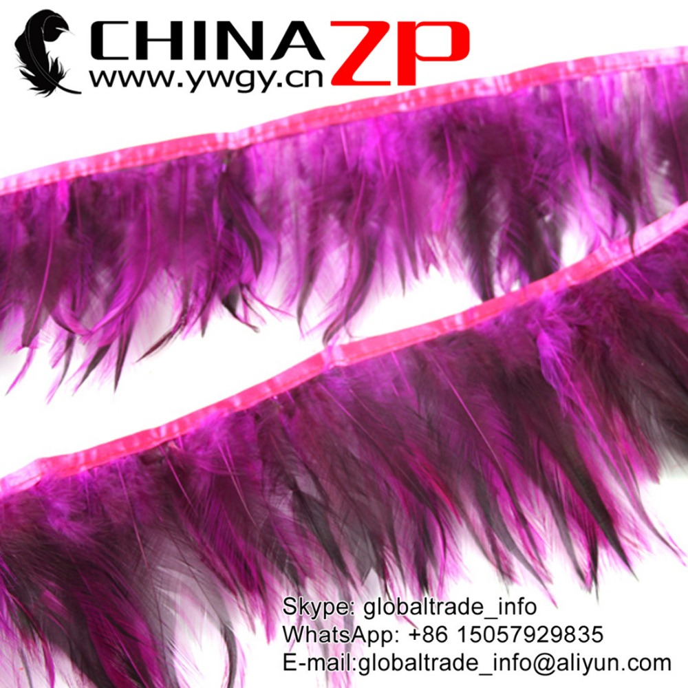 CHINAZP Manufacturer Wholesale Cheap Cock Plume Fringe Directly Dyed Hot Pink Rooster Neck Hackle Feathers Trims