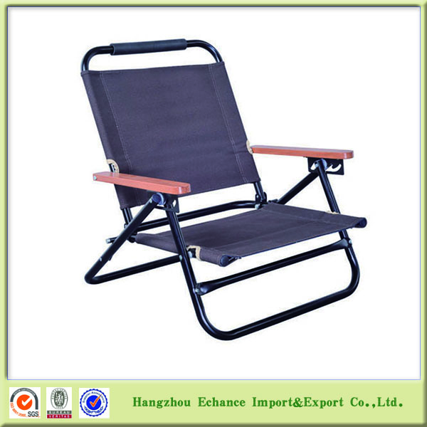 Low seat Outdoor camping folding chair with wooden arm and backrest