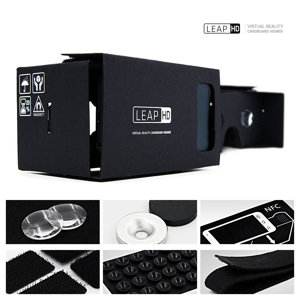 LEAP-HD Brand New VIRTUAL REALITY CARDBOARD TOOLKIT SMARTPHONE VIRTUAL REALITY VIEWER NFC Tag ColorCross Universal Google Cardboard DIY Paper Version 3D VR Complete Kit Virtual Reality Glasses Headset for Real HD 3d Experience
