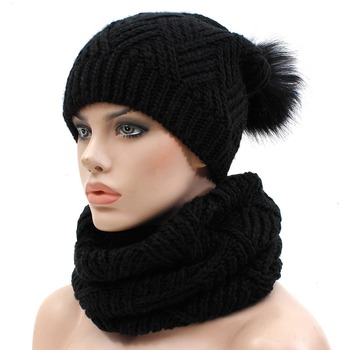Hot Sell High Quality Cable Thick Warm Woman Knitted Scarf And Hat