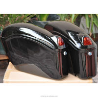 new black motorcycle sade case hard saddle bag fit most cruiser with bracket light