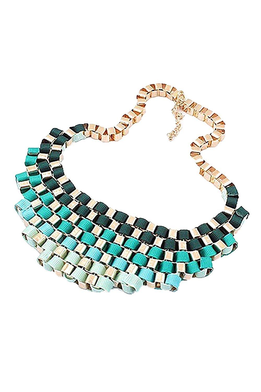 LUQUAN Women Alloy Bubble Bib Party Statement Colorful Weave Ribbon Necklace Collar(Green)