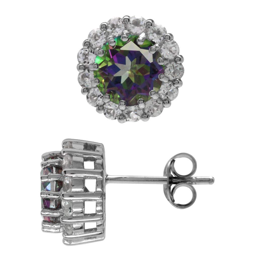 f3f021b84 Get Quotations · 3.2ct. Mystic Fire Topaz White Gold Plated 925 Sterling  Silver Halo Stud/Post