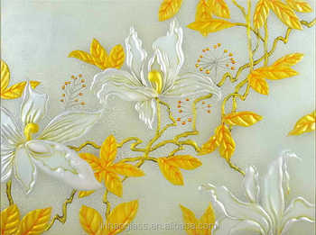Flower Image Design Embossed Glass