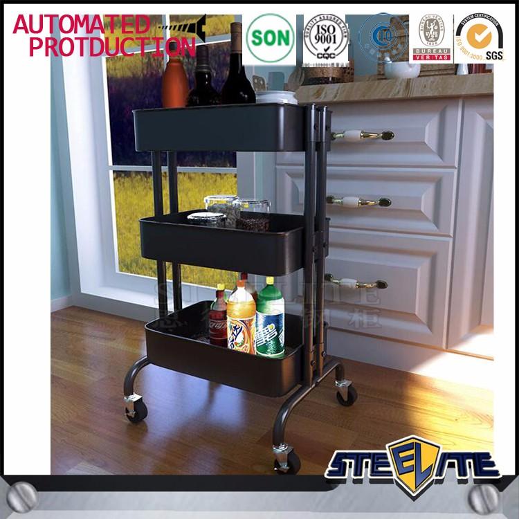 3 Tier Kitchen Trolley With Wheels Corner Vegetable Fruit Storage Rack Shelf