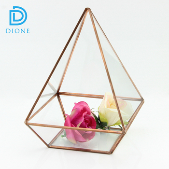 Flowers Artificial Wedding Metal Rose Gold Copper Glass Terrarium