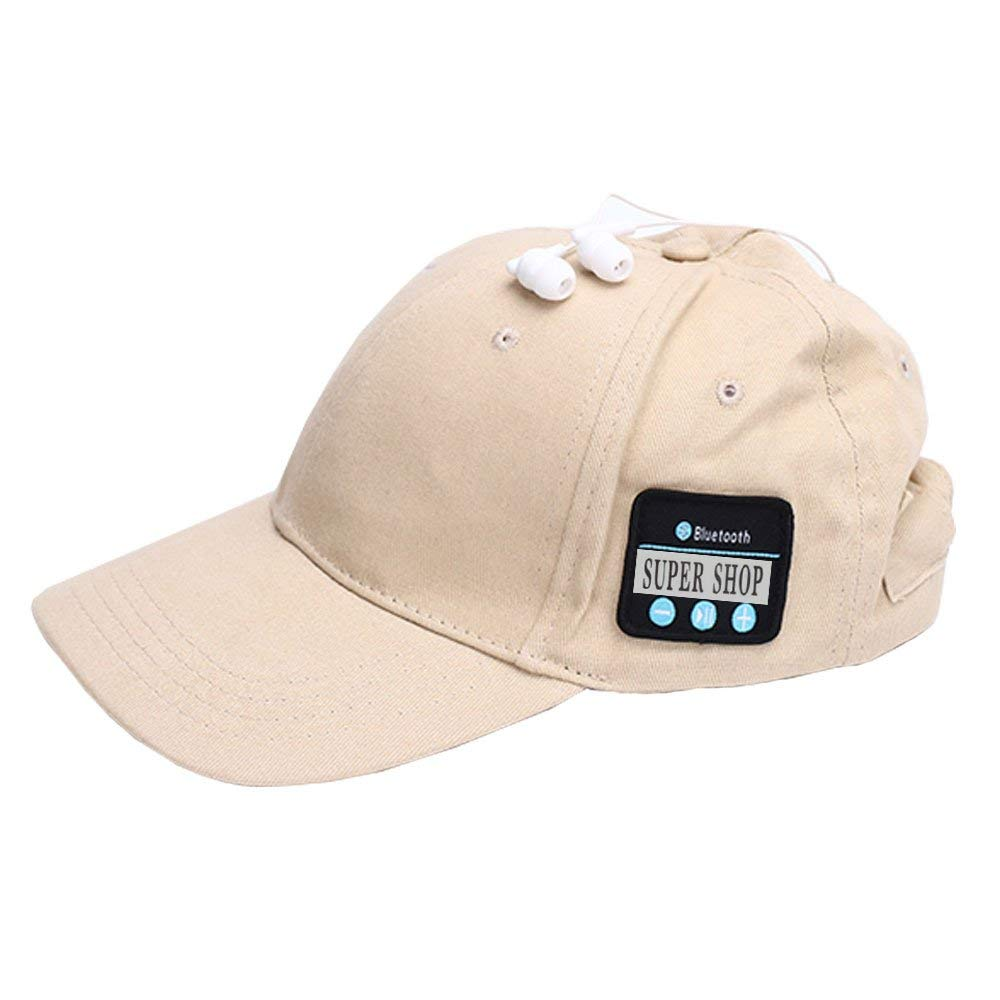 Supershop Wireless Bluetooth Music Baseball Cap Sports Sun Hat with Mic Answer Phone Hands-free Bluetooth In-ear Headset Adjustable Hat Speaker Summer Cap for Men Women (BS-01 Apricot)