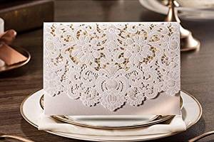 Joinwin® 25 Floral Laser Cut Wedding Invitation Table Card Seat Card Place Card For Wedding Favors And Gifts (White)