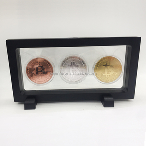 Wholesale custom metal engraved gold silver bronze coated creative commemorative bit bitcoin coin set