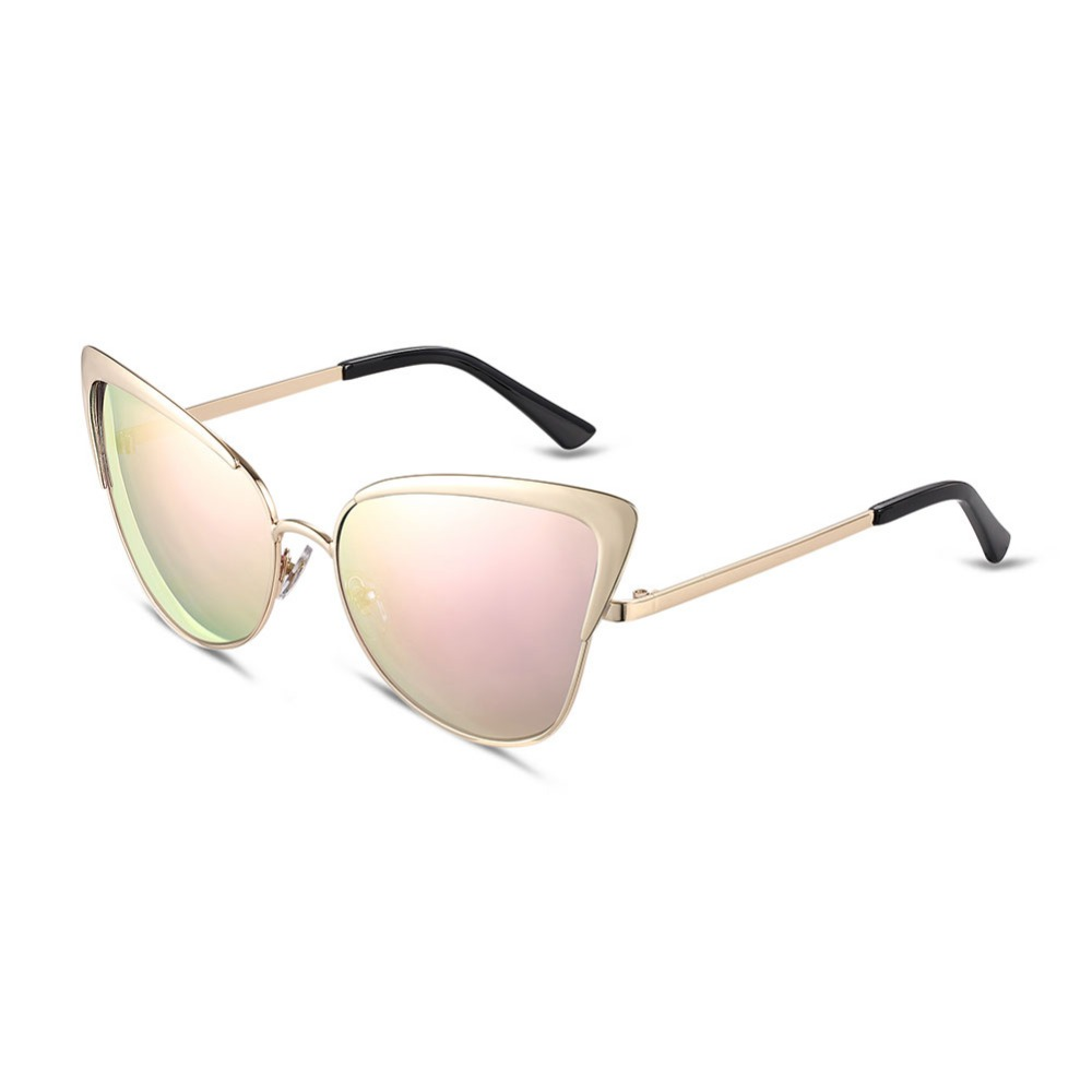 SJYJMH028 Retro Style Metal Golden Frame Cat's Eye Gold Powder/Green/Purple Colorful Lens Everyday Accessory Original Sunglasses