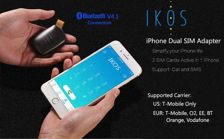 IKOS bluetooth nano dual double sim standby adapter for iphone