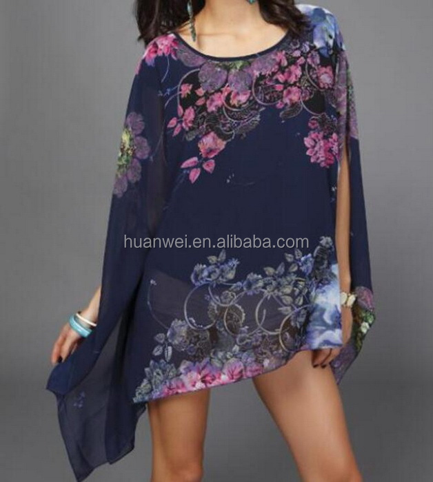 Fashion sexy loose beach skirt digital printing women beach dress
