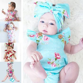 909ae4f18 Traje de cuerpo de bebé 2017 Rosa flor patrón peleles de verano y el  cabello Accesori