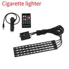 4 шт. автомобильный RGB светодиодный светильник с полосками USB светодиодный светильник с атмосферой для автомобиля многоцветный декоративны...(Китай)
