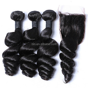 3 Bundles 12-26 Malaysia Virgin Hair Weft Loose Wave With 1Pcs Free/Middle Part Lace Closure Natural Black Hair Weaves