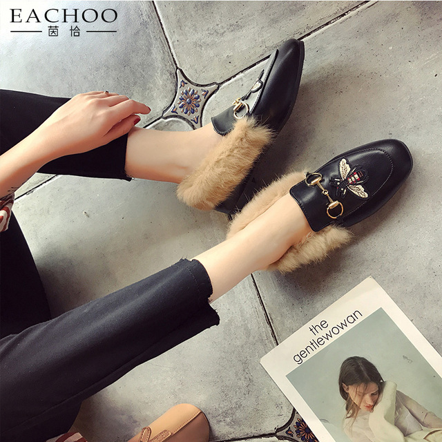 2018 new collection fur slippers mule shoes ladies