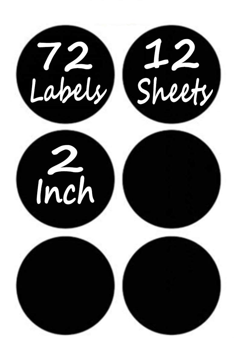 Chalkboard Labels Pack of 72 Round Chalkboard Mason Jar Lid Canning Labels . Premium Labels for Glass Jars, Food Containers, Kitchen and Pantry Organizing (1.9 Inches Wide, free White Chalk Marker)