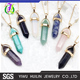 JTBC1115 Yiwu Huilin Jewelry Natural stone European and American fashion moon crescent bullet hexagonal double chain necklace